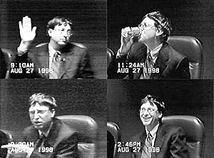 1998 in the United States - May 18: United States v. Microsoft antitrust suit (Bill Gates pictured in his August deposition)