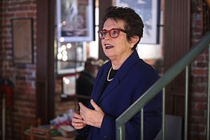 Billie Jean King - Billie Jean King speaking at an event in Des Moines, Iowa
