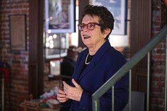 Billie Jean King - Billie Jean King speaking at an event in Des Moines, Iowa