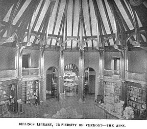 Billings Memorial Library - Image: Billings Library ca 1895 Univ of Vermont 2