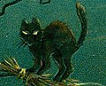"""Black cat art detail, """"Hallowe'en."""" (A Witch riding a broomstick with a black cat) (cropped).jpg"""