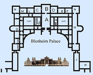 "Enfilade (architecture) - Blenheim Palace, Oxfordshire: an enfilade of nine state rooms runs the length of the palace (marked ""N"" to ""G"" at the top of the figure) - note alignment of doors between rooms"