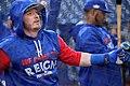 Blue Jays third baseman Josh Donaldson takes batting practice before the AL Wild Card Game. (29840422320).jpg