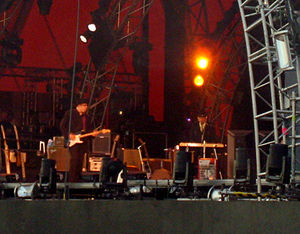 Never Ending Tour - (From left to right) Stu Kimball and Bob Dylan at the Roskilde Festival, 2006.