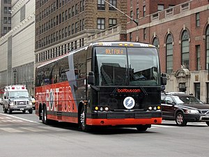 BoltBus #0800 in New York City on the West Sid...
