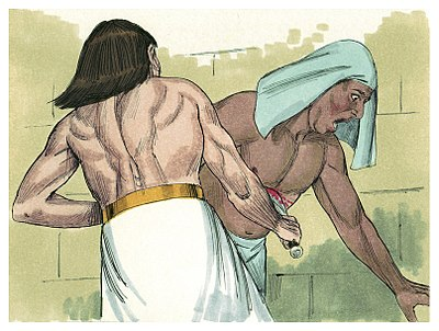 Mose dödar en slavdrivare