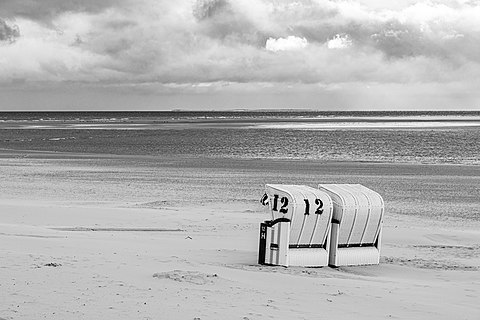Beach chairs on the main beach, Borkum, Lower Saxony, Germany