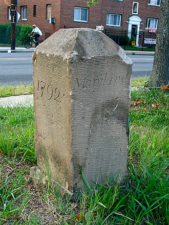 Boundary markers of the original District of Columbia - Image: Boundary Stone (District of Columbia) SE 6 (view from east)