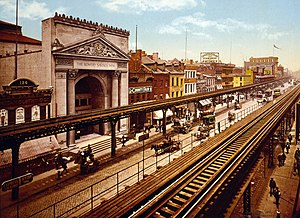 IRT Third Avenue Line - The Third Avenue El over the Bowery in the 1890s.