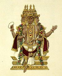 A handcoloured engraving of Brahma