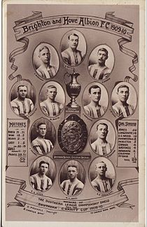 Individual portraits of twelve young men in football kit surround a silver cup and a shield. Either side are a list of goalscorers and a summary of match results.
