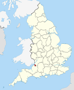 A map showing the location of Bristol in England.