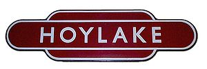 London Midland Region of British Railways - British Railways London Midland region totem station sign for Hoylake on Merseyside