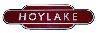 London Midland Region of British Railways - A totem station sign for Hoylake in Merseyside.