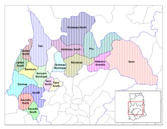 Lage des Distrikts innerhalb der Brong-Ahafo Region