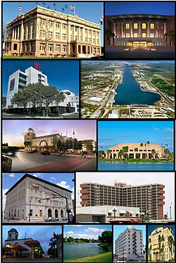 Top to bottom, left to right: Cameron County Courthouse, Reynaldo G. Garza & Filemon B. Vela Federal Courthouse, Wells Fargo Bank, Brownsville Ship Channel, La Plaza at Brownsville Terminal Center, Arts Center at Texas Southmost College, United States Court House, Custom House, and Post Office, Villa del Sol Building, Market Square at Downtown Brownsville, Hotel El Jardin (now defunct) and Lone Star National Bank.
