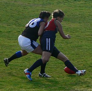 One percenter (Australian rules football) - A strong and legal bump to gain possession of the ball.