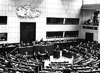 Session of the Parliamentary Assembly of the Council of Europe in the former House of Europe in Strasbourg, France in January 1967. Willy Brandt, West German minister for Foreign Affairs, is speaking. Bundesarchiv B 145 Bild-F023908-0002, Strassburg, Tagung des Europarates.jpg