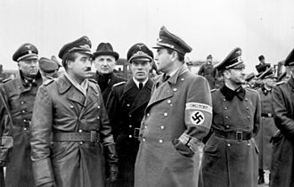 Rechlin–Lärz Airfield - Adolf Galland left center and Albert Speer right center at Rechlin during a defense meeting, 5–7 September 1943.
