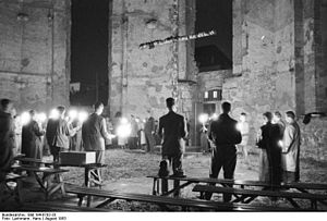 Karlskirche (Kassel) - Service of the CVJM in the ruined church, 1953