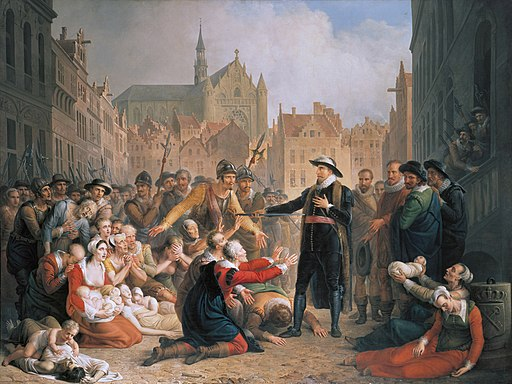 Burgomaster van der Werf offers his sword to the people of Leiden, by Mattheus Ignatius van Bree