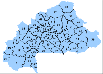 Provinces of Burkina Faso - Provinces of Burkina Faso by number