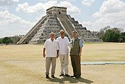 President George W. Bush, then-President of Mexico Vicente Fox and Canada's Prime Minister Stephen Harper stand in front of