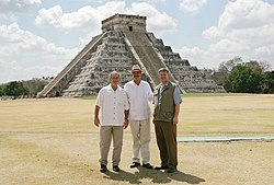 President George W. Bush, Mexico's President Vicente Fox and Canada's Prime Minister Stephen Harper stand in front of the Chichen Itza archaeological ruins March 30, 2006.