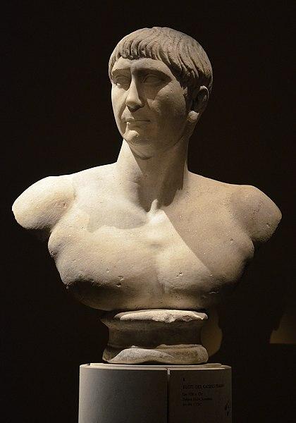 "File:Bust of Trajan, found in Salona (Solin, Croatia), ca. 108 AD, of the so-called ""Decennalia type"", Vienna Kunsthistorisches Museum, Austria (20405430933).jpg"