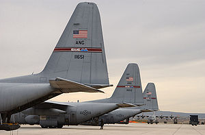 189th Airlift Squadron - C-130 air transport planes parked on the ramp at Gowen Field in Boise, Idaho