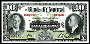 Withdrawn Canadian banknotes - $10 Bank of Montreal note issued in 1935