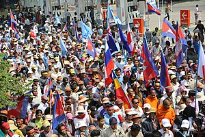 CNRP protesters raise flags.jpg