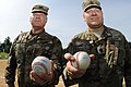 COL Ray Compton and CSM Snyder throw out the first pitch (36088375605).jpg