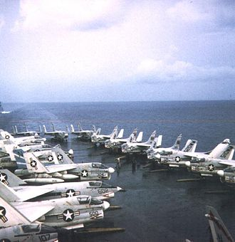 USS Ticonderoga (CV-14) - Aircraft of Attack Carrier Air Wing Nineteen (CVW-19) near the time described in the article - this photo is from 1971 when Air Wing Nineteen had moved to USS Oriskany.