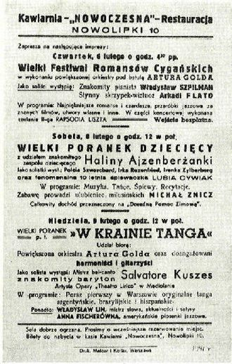 The Pianist (memoir) - Café Nowoczesna poster advertising several performers, including Władysław Szpilman, 1941