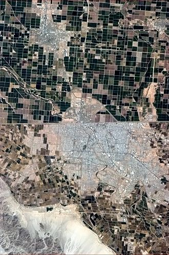 Mexicali - Mexicali, seen from the International Space Station, is situated south of the Mexico–US border