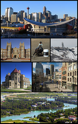 From top left: Scotiabank Saddledome and Downtown Calgary, Southern Alberta Institute of Technology, Calgary Stampede, Canada Olympic Park, Lougheed House, Stephen Avenue, Calgary Zoo