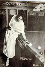Camila Quiroga playing billiard on the cover of El Grafico , 1920. Camila quiroga 1920.jpg