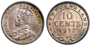 Newfoundland ten cents - Image: Canada Newfoundland George V 10 Cents 1912