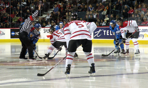 Hockey Canada - Canadian national junior team vs Finland at an exhibition game in Calgary.