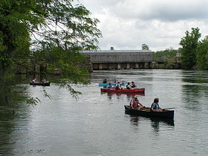 Augusta Canal - Canoes depart from Augusta Canal headgate area during Augusta Canal Cruise and Cookout 2004