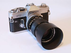 Camera - A 1966 Canon FT camera with a 135mm 1:3.5 lens