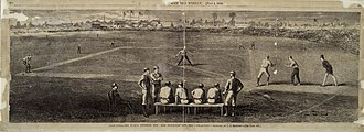 Capitoline Grounds - Sketch of Capitoline Grounds during a matchup of the Brooklyn Atlantics and the Cincinnati Red Stockings, 1870.