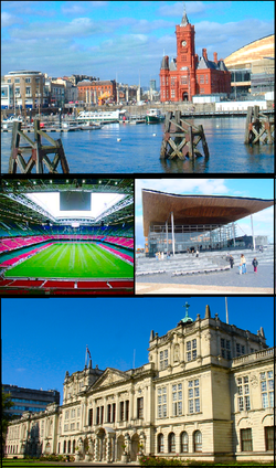 Clockwise from top: Cardiff Bay, the Senedd, Cardiff University and the Millennium Stadium көрінісі