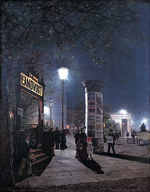 History of electric power transmission - Berlin, 1884. With double the brilliance of gaslight, arc lamps were in high demand for stores and public areas. Arc lighting circuits used up to thousands of volts with arc lamps connected in series.