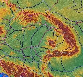 Carpathian Mountains - Relief map of the Carpathian Mountains