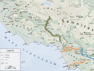 Aurunci - Map showing the territory of the Aurunci.