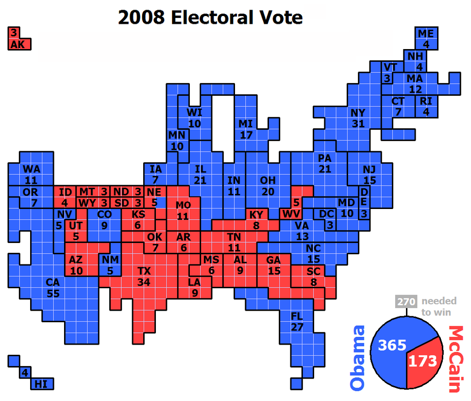 Cartogram-2008 Electoral Vote