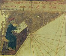 Image of a cartographer, assumed to be Pietro Vesconte himself, from the 1318 Vesconte atlas (Museo Correr, Venice)