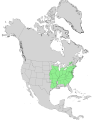 Carya cordiformis USGS range map.png